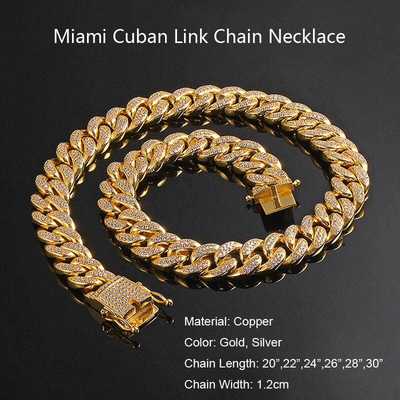 Hommes femmes Hip Hop MIAMI lien cubain plus cool chaîne collier cuivre coulée Micro cubique zircone fermoir glacé Bling bijoux - 6
