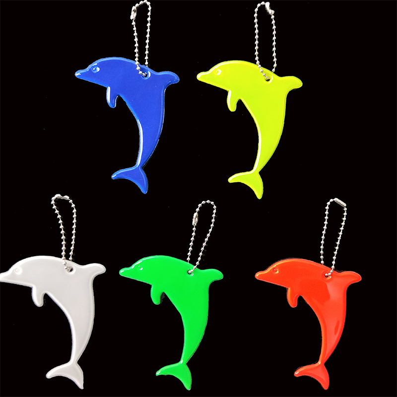 Dolphin Model  Soft Pvc Reflector Reflective Keychain Bag Pendant Accessories High Visibility Keyrings For Traffic Safety Use