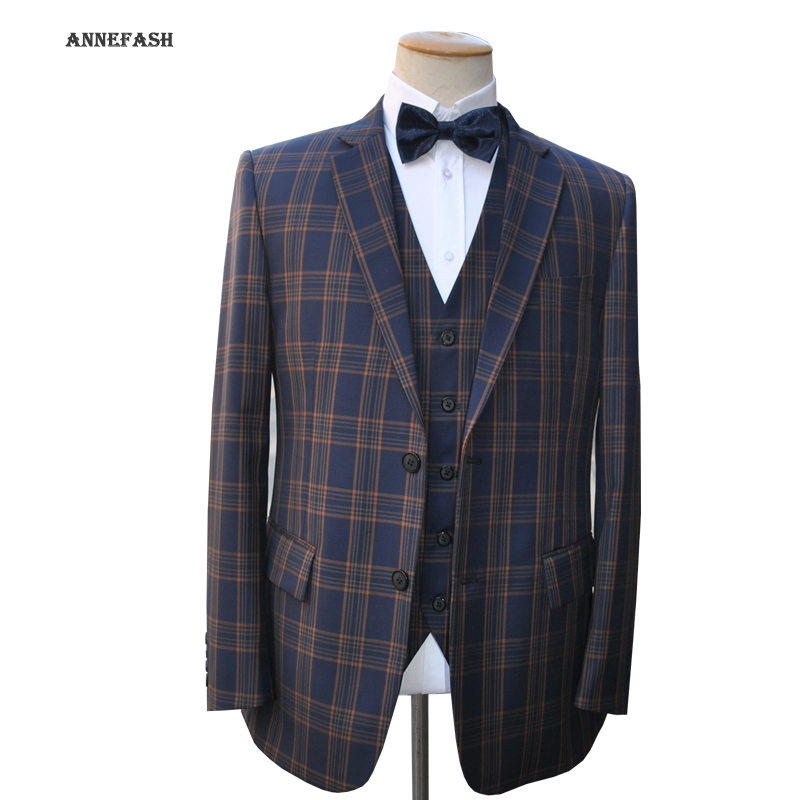 a12ec6051e8d26 Custom Made high quality 150's worsted pure wool blue navy windowpane check  Suit Men Slim Fit Suit(jacket+pants+vest) 22 color-in Suits from Men's  Clothing ...