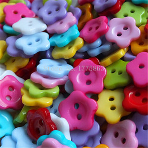 50Pcs14mm Mixed Plastic Flower 2 Holes Buttons, for Sewing, Scrapbooking, Crafts, Jewellery making, Knitting 7NK24