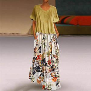 Fashsiualy Women Casual Vintage Summer Plus Size Maxi