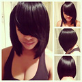 Brazilian Human Hair Short Bob Wig For Black Women Glueless Lace Front Human Hair Bob Wigs With Side Bangs Full Lace Short Wigs