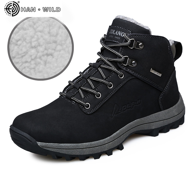 Winter Shoes Men Fashion PU Leather Plush Warm Lace Up Waterproof Casual Shoe High Top Mens Ankle Snow Boots chic pu plain lace up mens winter boots