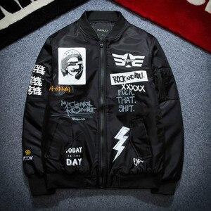 Image 4 - 가을 겨울 Ma1 폭격기 재킷 남자 육군 파일럿 재킷 두꺼운 청소년 펑크 힙합 야구 코트 남성 패션 캐주얼 Streetwear