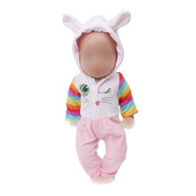 Dolls clothes Cute bunny white rabbit suit pajamas fit 43 cm baby doll and American 18 inch Girl doll accessories f576 1 set 18 american girl doll clothes and accessories white shirt and flower trousers 18 inch american girl dolls clothes ingbaby