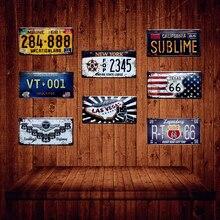 Cartel Vintage de Metal YQZ008 para matrícula de coche Texas USA 66 de Maine California New York