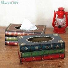 Caja de pañuelos Retro pintada a mano, cajas para toallas de papel de imitación Retro-europeo, cajas de papel de arte en el soporte de la mesa del comedor