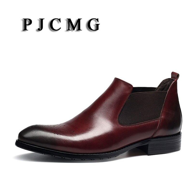 De Oficina Boda Botines Negro Oxford Calidad Alta Auténtico rojo rojo Trabajo Slip Cuero on Pjcmg Toe Punta Negro Hombres Formal pBwqR7