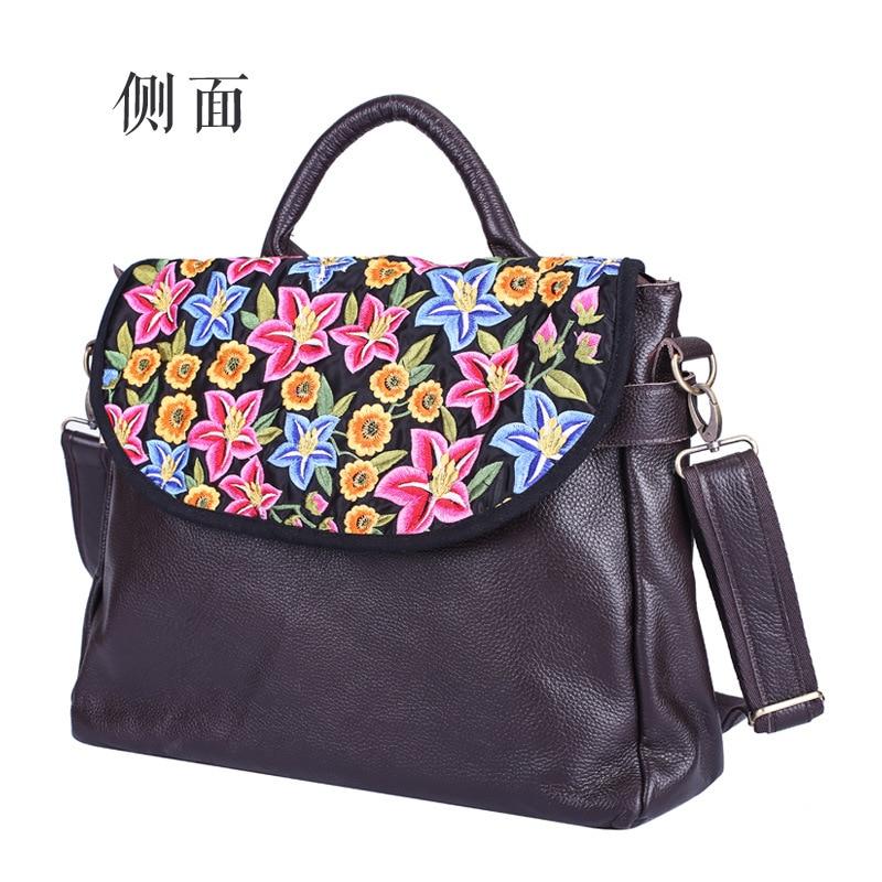 HANSOMFY New embroidered Women handbag genuine leather shoulder bag first layer leather portable slung briefcase messenger bags