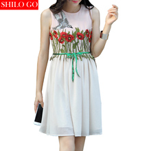 HOT Free shipping 2016 new summer fashion women high quality hand-embroidered flowers bow diamond sequined dress sexy birds