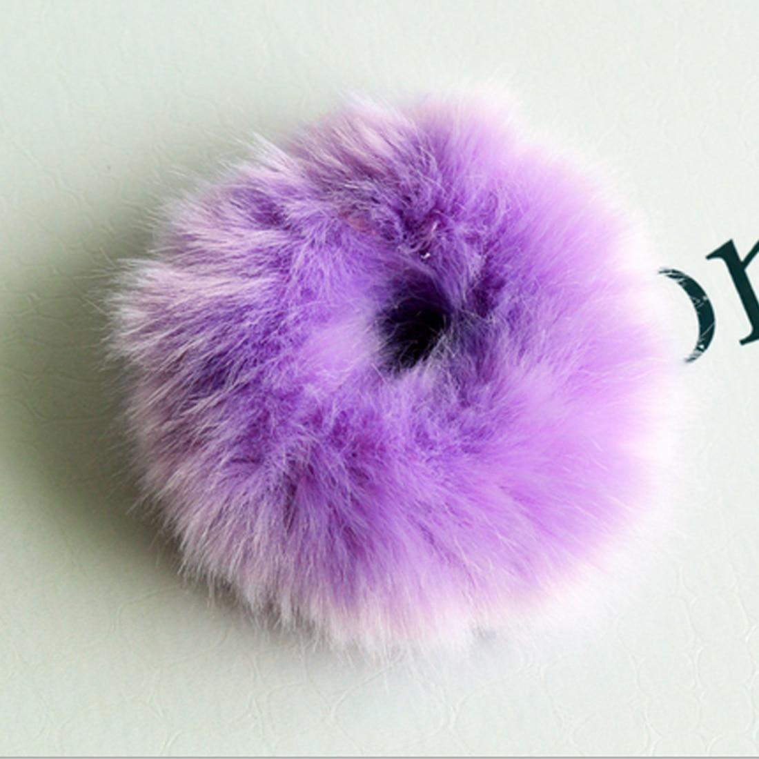 Новинка, настоящая меховая кроличья шерсть, мягкие эластичные резинки для волос для женщин и девочек, милые резинки для волос, резинка для хвоста, модные аксессуары для волос - Цвет: Фиолетовый