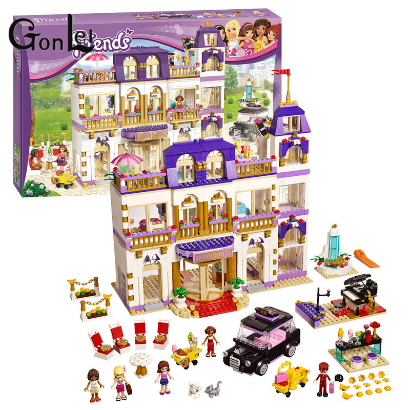 GonLeI 10547 Friends Heartlake Grand Hotel building Blocks Bricks Toys Girl Game Toys for children House Gift 41101 10162 friends city park cafe building blocks bricks toys girl game toys for children house gift compatible with lego gift