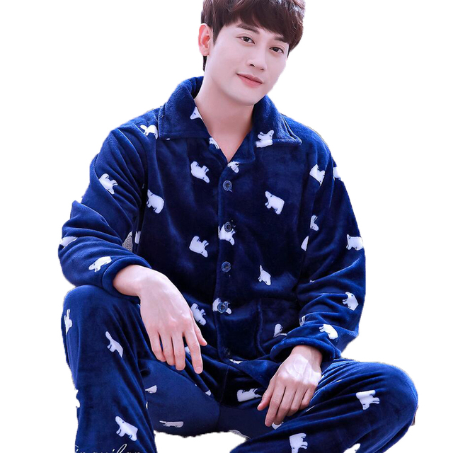 Men Flannel Pajamas Set Casual Home Clothing Winter Long Sleeve Round Neck Cartoon Men's Sleepwear Pyjamas Homme Nightclothes 1