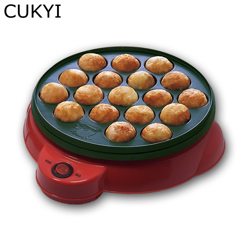 CUKYI Exported Professional Octopus Ball Maker Takoyaki Machine 650W 220V 18 holes Grill Mold Burning Plate DIY Cooking Tools oem diy hitm 47331 sushi rice ball mold