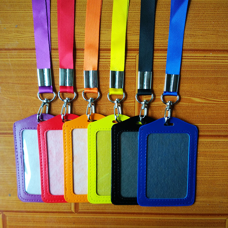 1.5cm Wide Name Credit Card Holders PU Bank Card Neck Strap Card Bus ID holders candy colors Identity badge with lanyard high grade pu card holder staff identification card neck strap with lanyard badge neck strap bus id holders