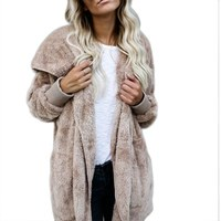 New Two Wearing Long Sleeved Lapel Fur Coat Open Stitch Natural Color Hooded Faux Fur Coat