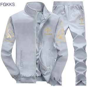 Image 1 - FGKKS Men Tracksuit Hoodies 2020 Spring Summer And Fall Mens Embroidery pattern Tracksuit Mens Clothing