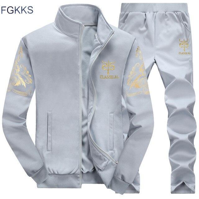 FGKKS hommes survêtements à capuche 2020 printemps été et automne hommes broderie motif survêtement vêtements pour hommes