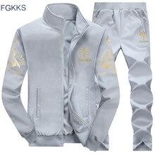 Fgkks masculino agasalho hoodies 2020 primavera verão e outono bordado padrão agasalho roupas masculinas
