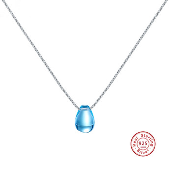 Blue Crystal  tears Drop Pure 100% 925 Sterling Silver Pendant Necklace For Women Wedding Birthday Gift Creative Jewelry