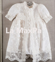 Vintage Baby Girls Christening Gowns Baptism Dresses For Girl Boys Toddlers Outfit Half Sleeves With Lace