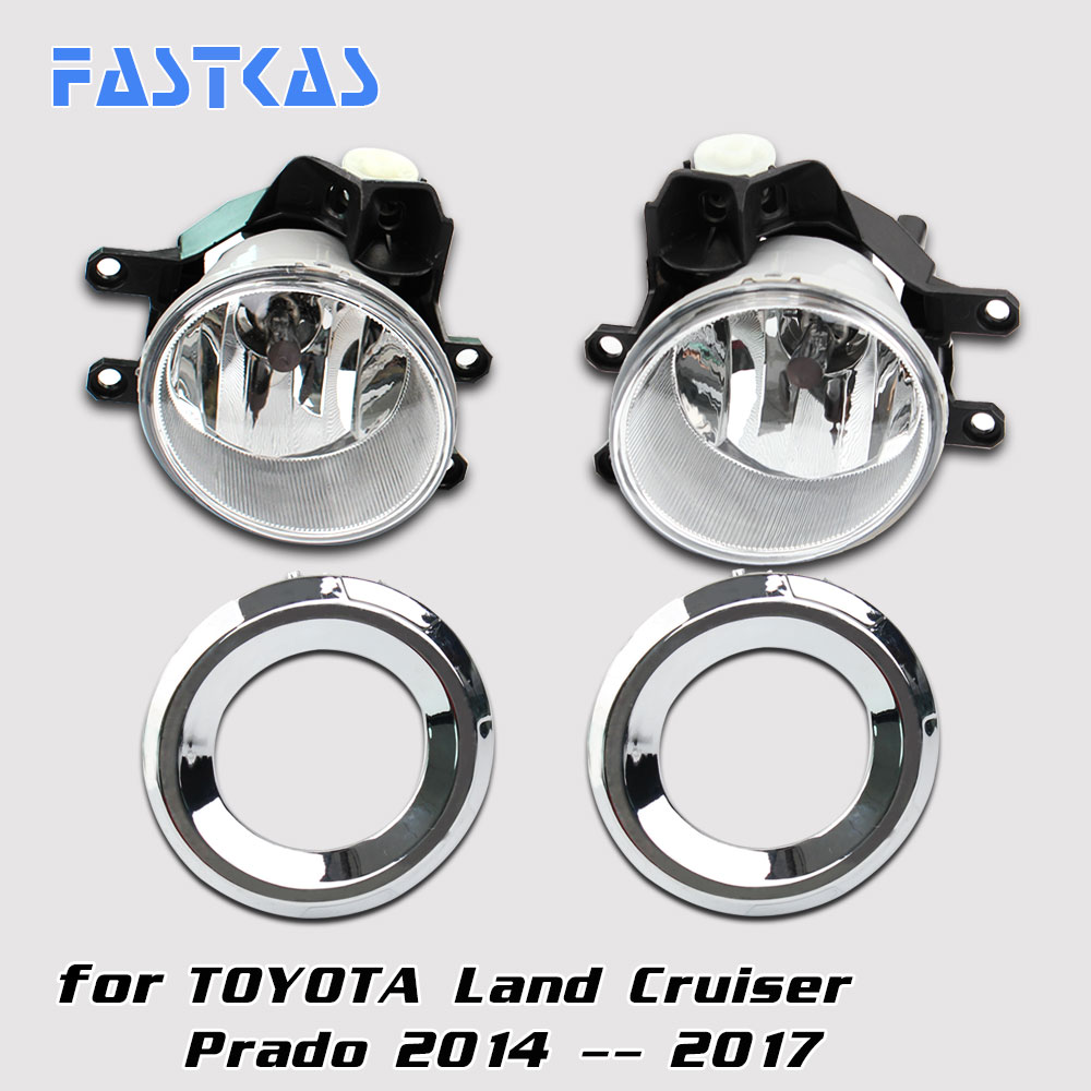Car Fog Light Assembly for Toyota Land Cruiser Prado 2014-2017 Left & Right Fog Light Lamp with Switch Harness Relay Fog Light 12v 55w car fog light assembly for ford focus hatchback 2009 2010 2011 front fog light lamp with harness relay fog light