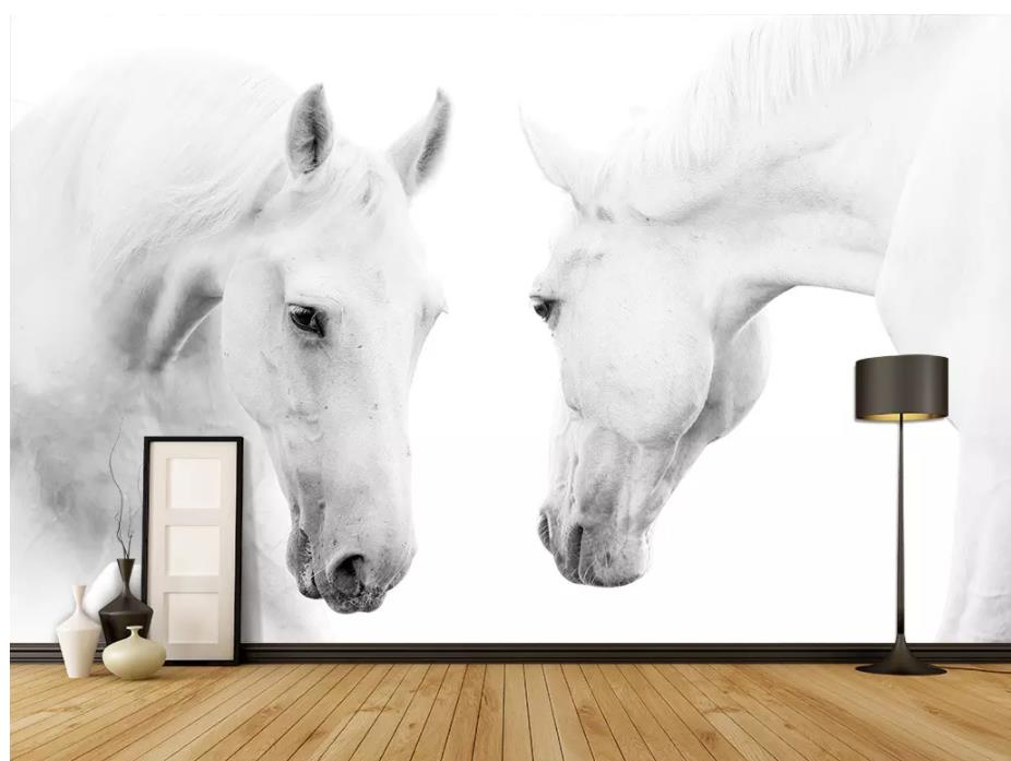 3d stereoscopic wallpaper White horse photography background wall painting
