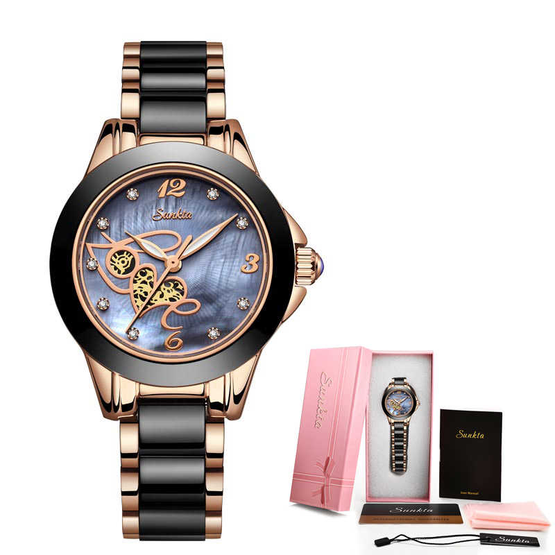 SUNKTA Rose Gouden Horloge Vrouwen Quartz Horloges Dames Top Merk Luxe Vrouwelijke Polshorloge Meisje Klok Vrouw Gift Relogio Feminino MS