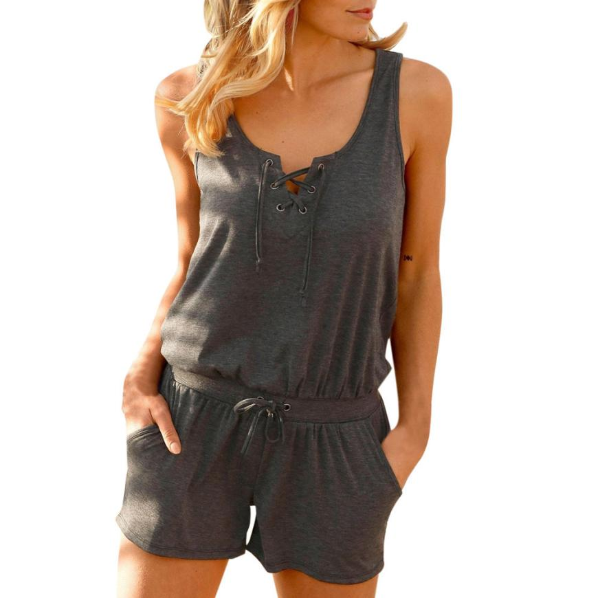 7f221adc7bb4 2019 Womail Summer Fashion Bandage Vest Tank Top Casual Playsuit ...