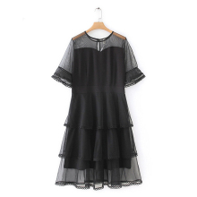 Black Short Flare Sleeve Layered Contrast Mesh Lace Ruffle Hem Party Dress Women 2019 Summer Round Neck Dress New Plus Size 5XL plus contrast lace teddy