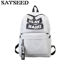 Women Canvas Bags Letter Printing Large Capacity Backpacks Female 2018 New Student Backpacks Schoolbags Zipper Softback Casual