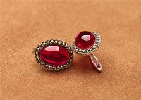 925 Sterling Silver Thai Silver Restoring Ancient Ways Is Pomegranate Red Corundum Stud Earrings Fashion Earrings