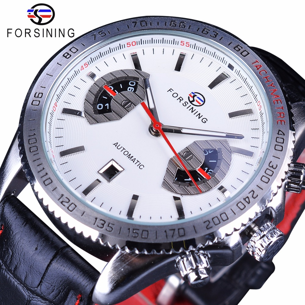 Forsining Genuine Leather Racing Belt Men Watch Top Brand Luxury Calendar Mechanical Automatic Wristwatch Male Clock Silver forsining classic series black genuine leather strap 3 dial 6 hands men watch top brand luxury automatic mechanical watch clock
