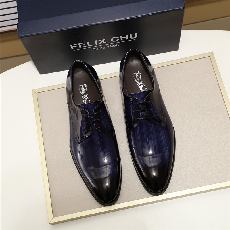 Stylish Luxury Patent Leather Men Formal Derby Shoes Business Office Work Dress Shoes Male Lace Up Pointed Toe Shoes Blue Black