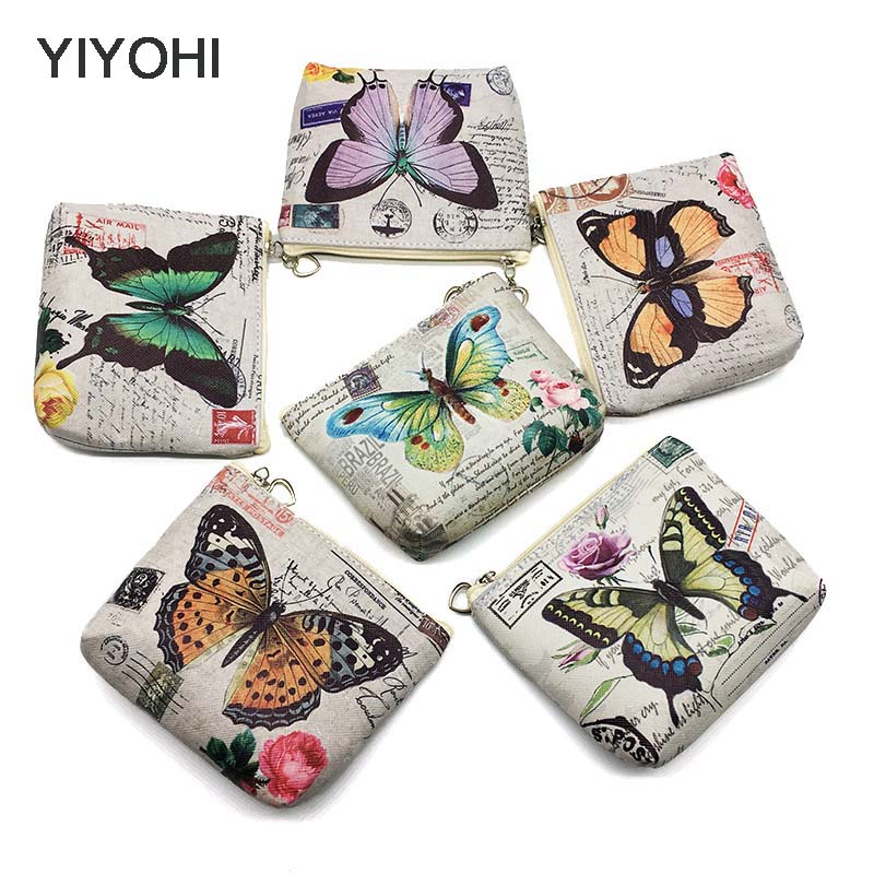YIYOHI New Cute Butterfly Students Coin Purse Children PU Leather Zip Change Purse Women Wallet Animal Key Card Bag Kids Gift