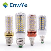 EnwYe E27 E14 светодиодная кукурузная лампа, настоящая мощность, 2 Вт, 4 Вт, 6 Вт, 9 Вт, 12 Вт, 220 В, 240 в, кукурузная лампа, люстра, свеча, светодиодная лампа для украшения дома
