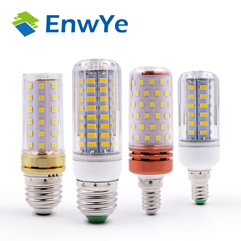 EnwYe E27 E14 LED Corn Lamp True Power 2W 4W 6W 9W 12W  220V 240V Corn Bulb Chandelier Candle LED Light For Home Decoration