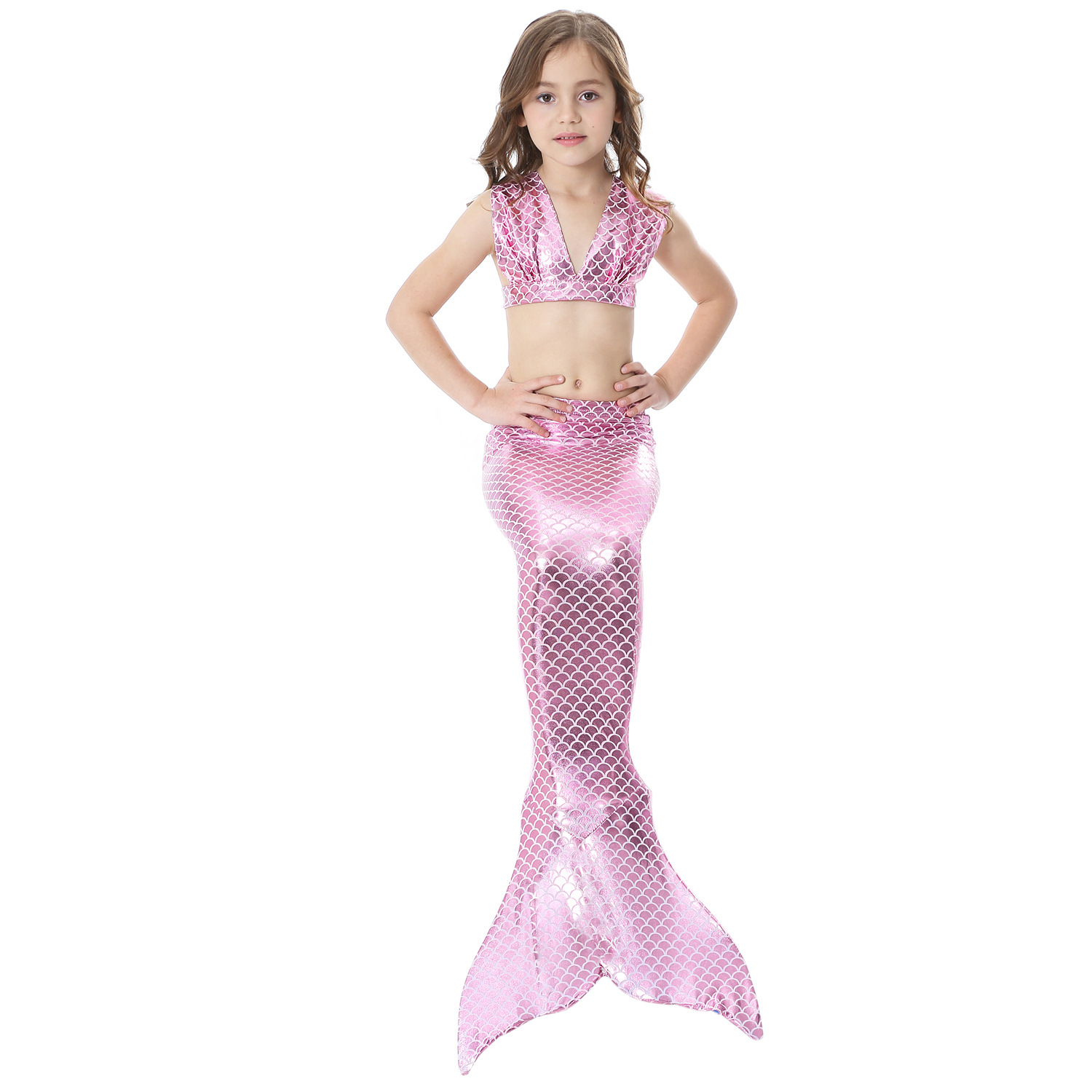 3 Pieces Baby Kids Mermaid Tail for Girls Kids Cosplay Costume Swimsuit Swimmable Children Mermaid Tails with Bikini Set