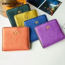 EMINI HOUSE 10 Colors Fashion Sheepskin Women Short Wallets Genuine Leather Wallet Mini Luxury Zipper Coin Purse Travel Wallet