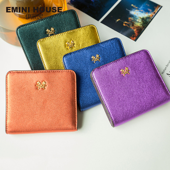 EMINI HOUSE 10 Colors Fashion Sheepskin Women Short Wallets Genuine Leather Wallet Mini Luxury Zipper Coin Purse Travel Wallet Women Wallets
