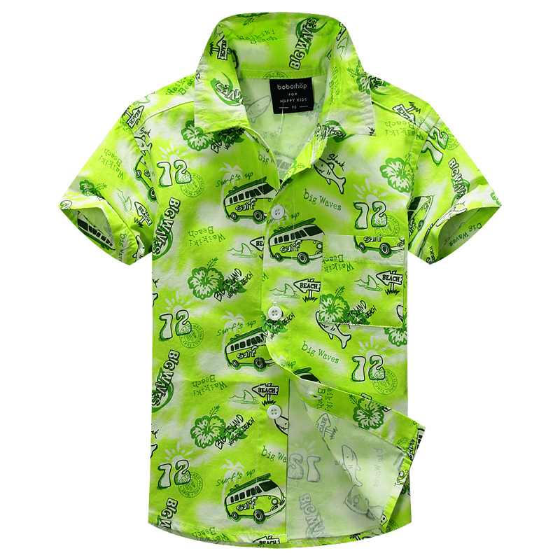 cotton 100% floral shirt hawaiian shirt aloha shirt for boy T1523 trees tie dye print cover placket hawaiian shirt page 1
