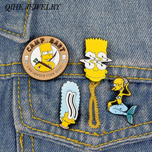 Qihe Perhiasan Simoom-Anak Keluarga Pin Mr Luka Bakar Bart Simpson Marge Simpson Kerah Pin Vintage Acara TV 90S perhiasan(China)