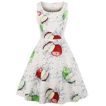 Hot Sale Apple Fruit Print Summer Vintage Dress 2020 Women 1