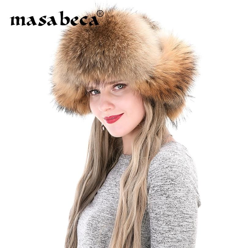 5ae535660d8 Genuine Fur Winter Cap Women Designer Ear Muff Fashion Brand Lady Fluffy  Real Fox Fur Beanies Fashion Lady Russian Ushanka Caps-in Skullies   Beanies  from ...