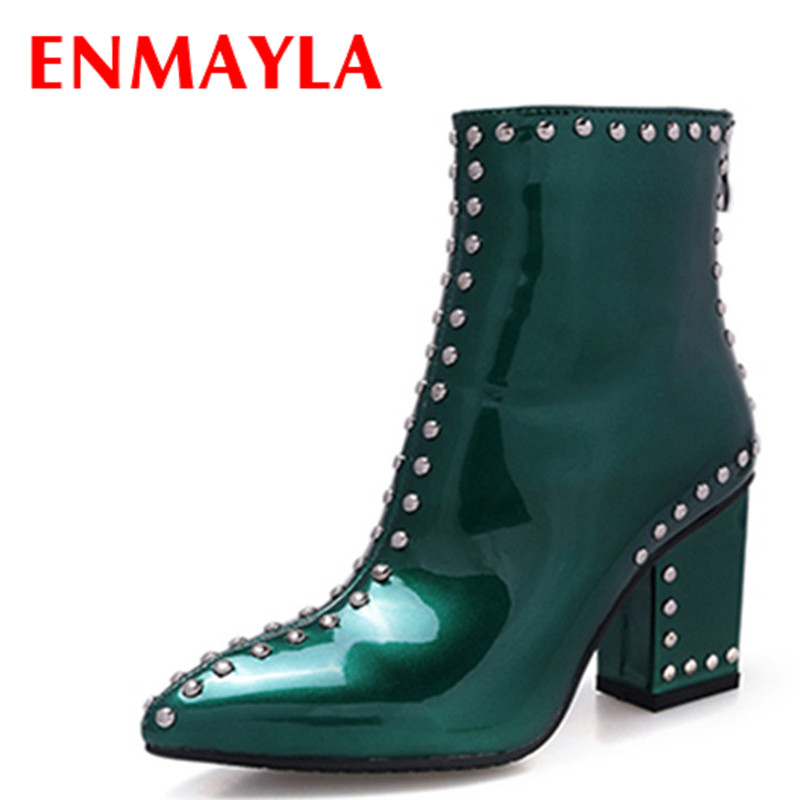 Airfour Zippers High Heels Pointed Toe Rivets Shoes Woman Platform Large Size 34-41 Ankle Boots for Women Winter