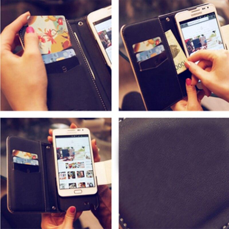 Lanyard Rantai Debu plug Kristal Bunga Kulit Kasus Flip Card Slot - Aksesori dan suku cadang ponsel - Foto 3