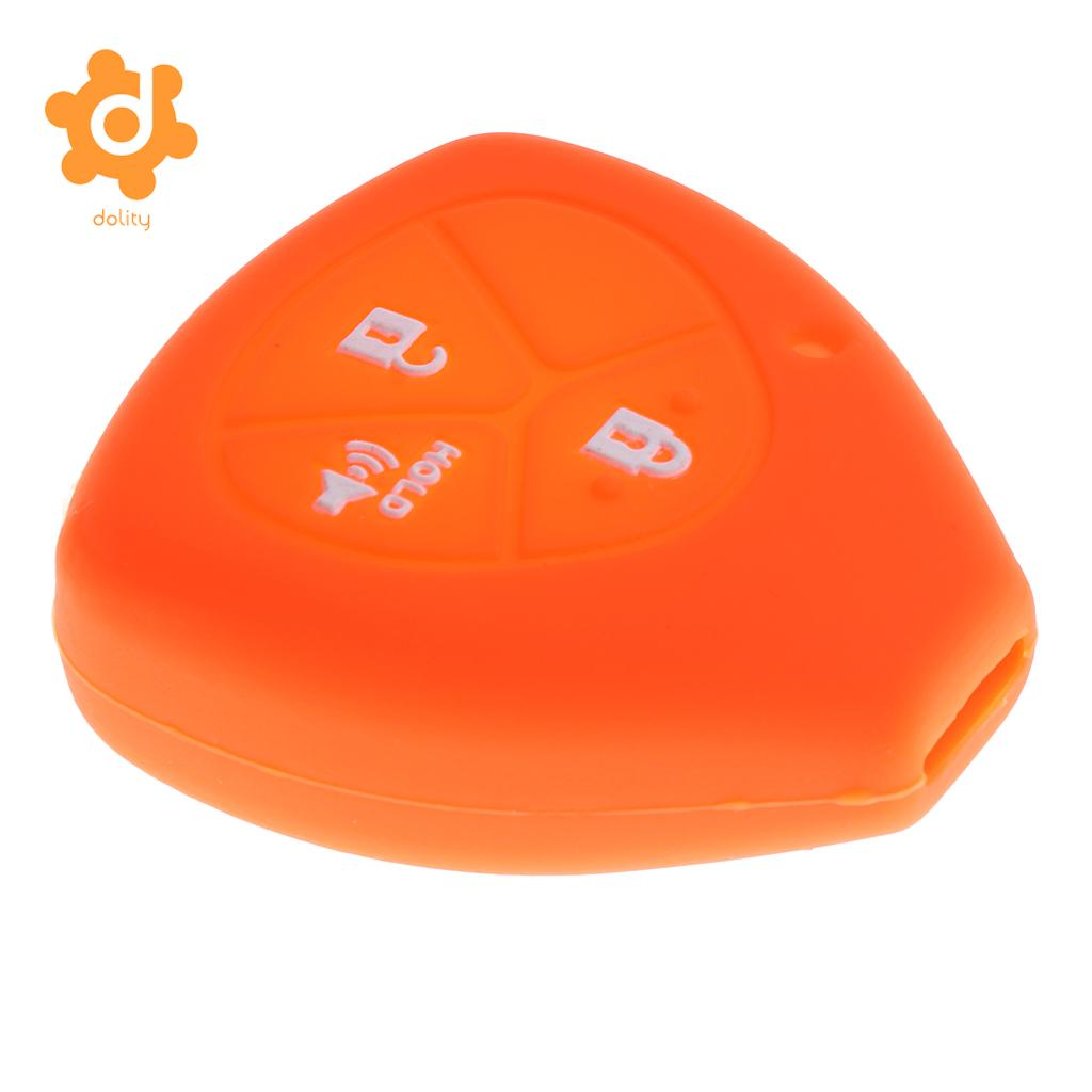 2 Pieces Orange Pink Car Key Case Shell Protector Silicone for Toyota