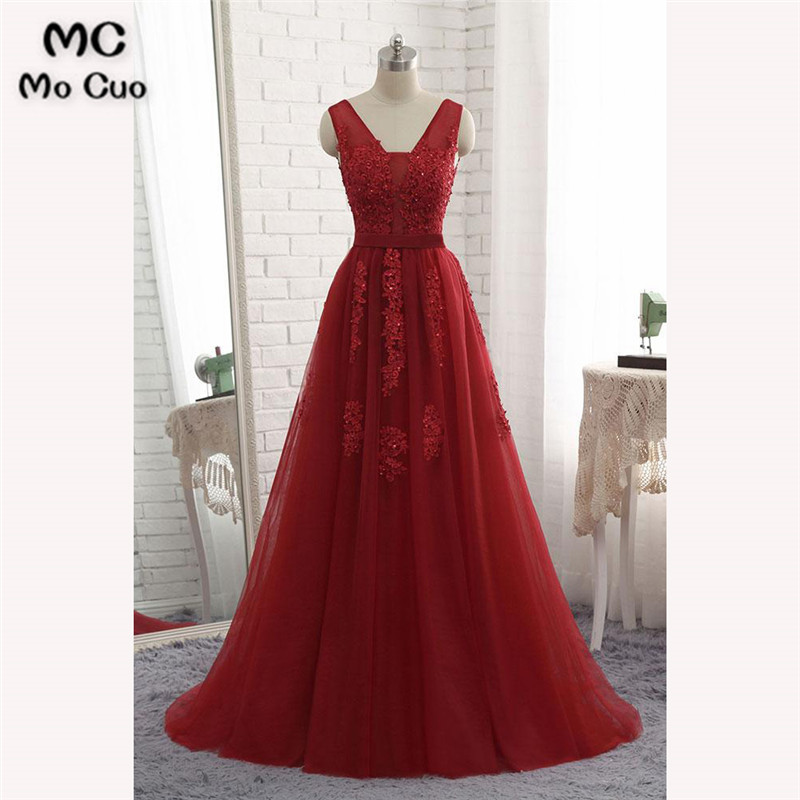2018 Elegant Burgundy   Prom     dresses   Long with Appliques Beaded Tulle   dress   for graduation Sweep Train Formal Evening   Prom     Dress
