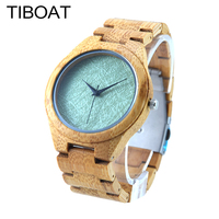 TIBOAT Mens Top Brand Luxury Design Green Wood Dial Full Bamboo Wooden Quartz Watches Japan Movement