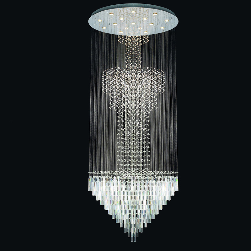 crystal bubble column stair pendant lights rotating hanging
